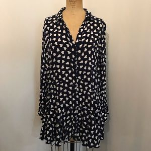 Anthropologie Tops - Anthropologie 11.1.Tylho Heart Print Tunic Blouse